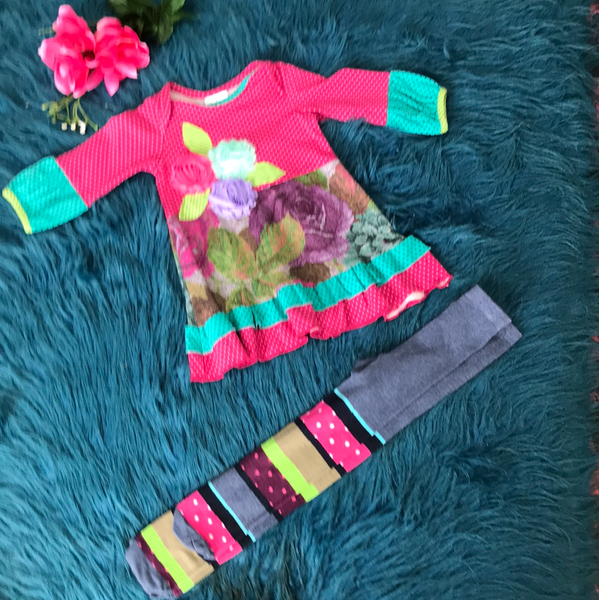 ZaZa Couture Roki and Zoi Fusha Flower Legging Set - JEN'S KIDS BOUTIQUE
