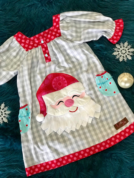 Millie Jay 2017 Christmas Santa Applique Yoke Dress - JEN'S KIDS BOUTIQUE