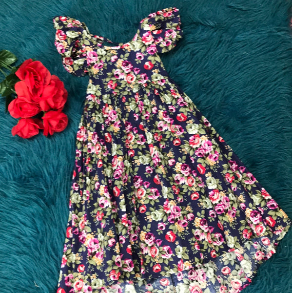 Navy Floral Hi-Low Dress