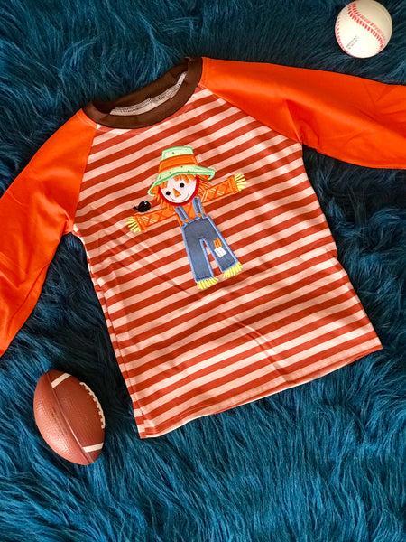 2018 Halloween Colorful Stripped Scarecrow Boys Shirt - JEN'S KIDS BOUTIQUE