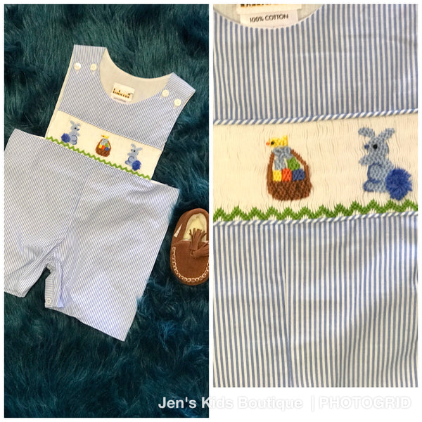 2018 Spring Easter Boy Blue Bunny Romper - JEN'S KIDS BOUTIQUE