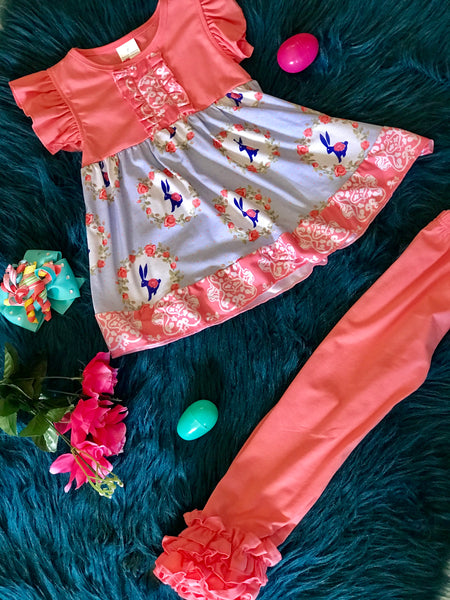 Spring Easter Vintage Coral & Blue Bunny Ruffle Pants Set - JEN'S KIDS BOUTIQUE