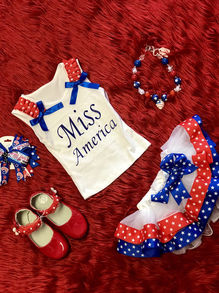 2018 Summer 4th Of July Red & Blue W/StarsTrimmed Petal Tutu Pettiskirt W/Blue Bow - JEN'S KIDS BOUTIQUE