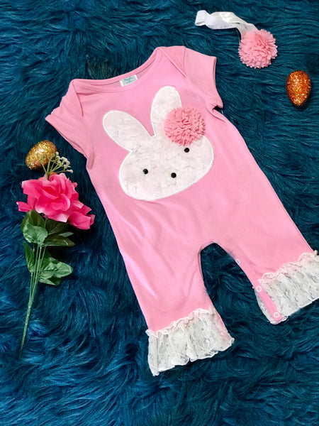 Peaches N Cream Easter Pink Bunny Infant Romper ECL - JEN'S KIDS BOUTIQUE