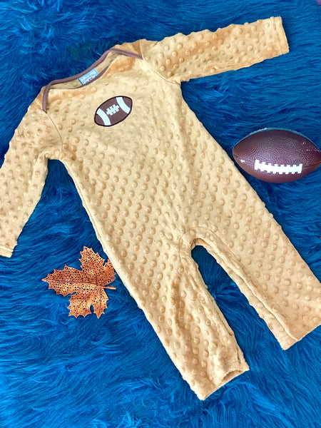 Three Sisters Infant Football Brown Minky Romper - JEN'S KIDS BOUTIQUE