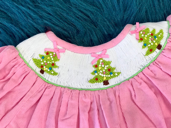 Three Tree  Christmas Smocked Pink Romper CH - JEN'S KIDS BOUTIQUE