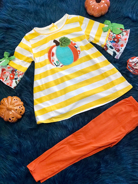 2018 Playful Thanksgiving Stripped Pumpkin Pant Set - JEN'S KIDS BOUTIQUE