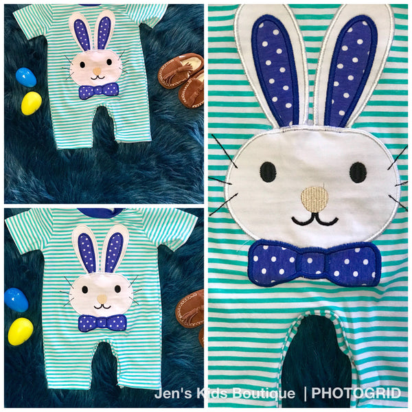 2018 Spring Easter Boys Blue Bunny Romper - JEN'S KIDS BOUTIQUE