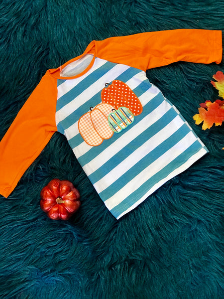 New Fall Boys Stripped Pumpkin Shirt - JEN'S KIDS BOUTIQUE