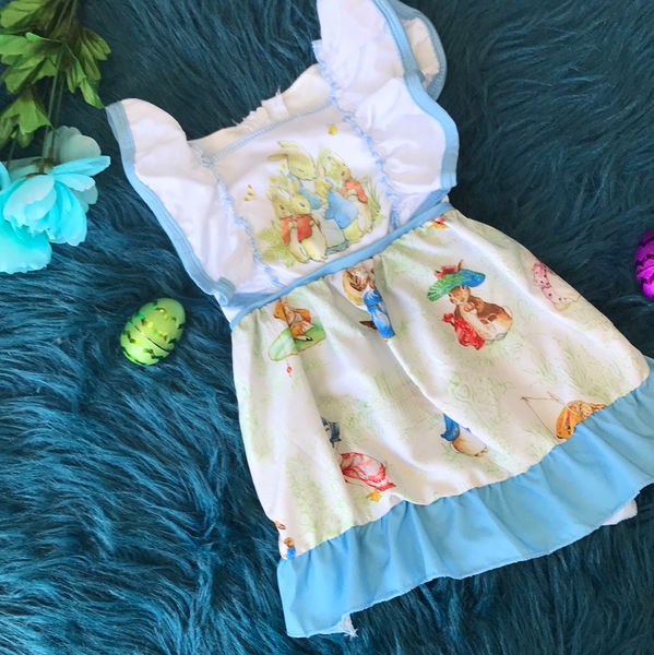 Blue & White Peter Rabbit Dress - JEN'S KIDS BOUTIQUE