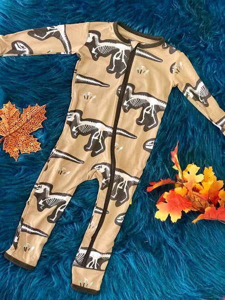 New Fall Kickee Pants Coverall With Zipper (Tanning T-Rex Dig) - JEN'S KIDS BOUTIQUE