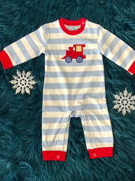 2018 Fall Three Sisters Boys Stripped Train Infant Romper - JEN'S KIDS BOUTIQUE
