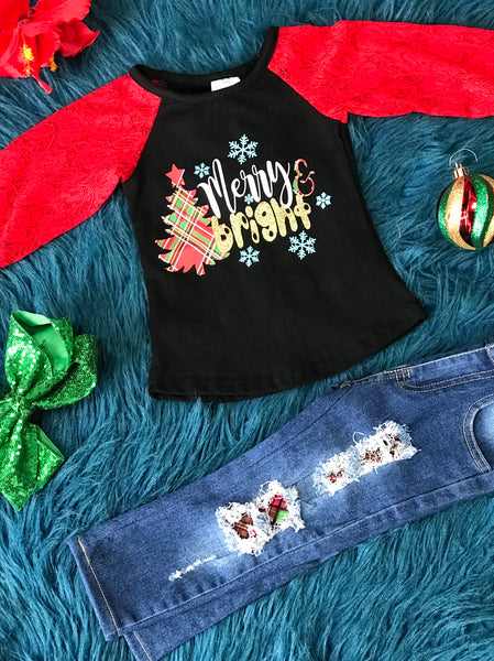 New Christmas Merry & Bright Denim Patch Jeans Pant Set C - JEN'S KIDS BOUTIQUE
