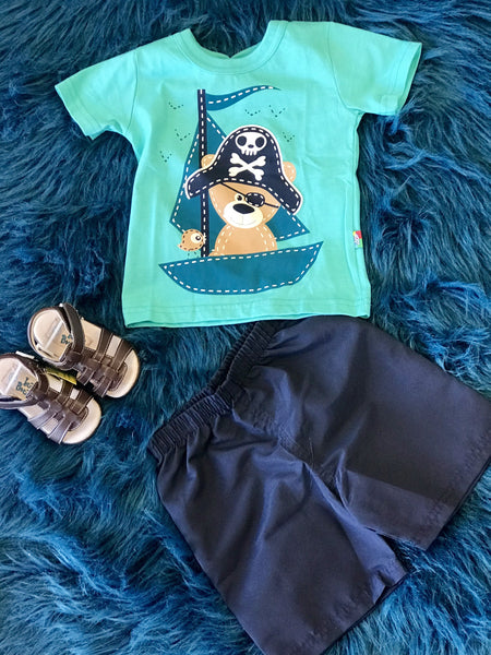 Summer Boys Be Loop Pirate Bear Shorts Set - JEN'S KIDS BOUTIQUE