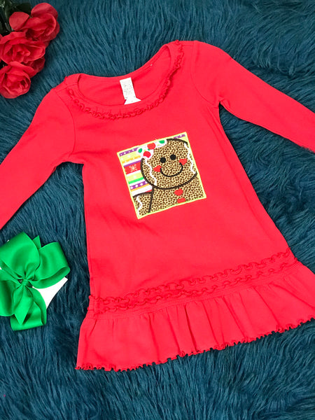 Red Gingerbread Man Dress w/ Ruffles CH - JEN'S KIDS BOUTIQUE