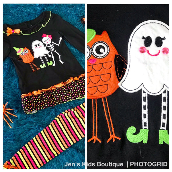 Rare Editions Halloween Owl/Friends Pant set H - JEN'S KIDS BOUTIQUE