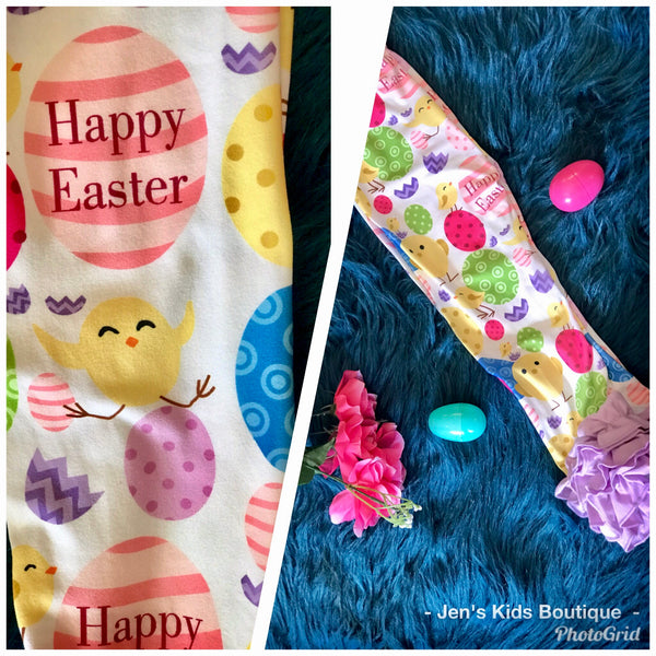 Spring Easter Egg Purple Ruffle Legging Set - JEN'S KIDS BOUTIQUE
