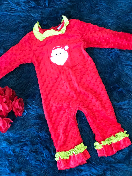 Three Sisters Red Santa Minky Romper CH - JEN'S KIDS BOUTIQUE