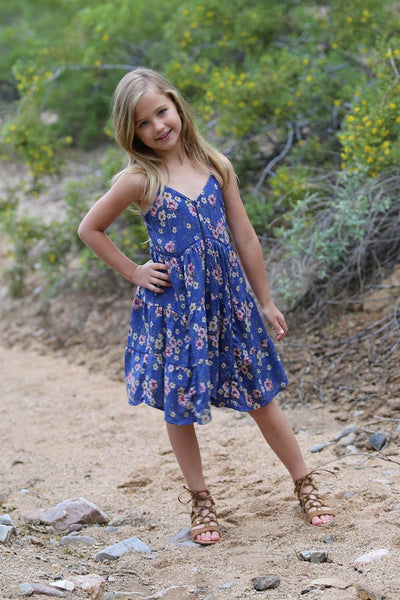 Spring Adorable Kids Royal Blue Flower Dress Mommy & Me Matching Dress - JEN'S KIDS BOUTIQUE