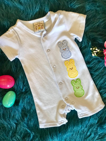 Three Sisters Boys Baby Blue Three Bunny Easter Romper - JEN'S KIDS BOUTIQUE