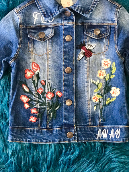 2018 Fall Denim Ladybug Fun Flower Embroidery Jean Jacket - JEN'S KIDS BOUTIQUE