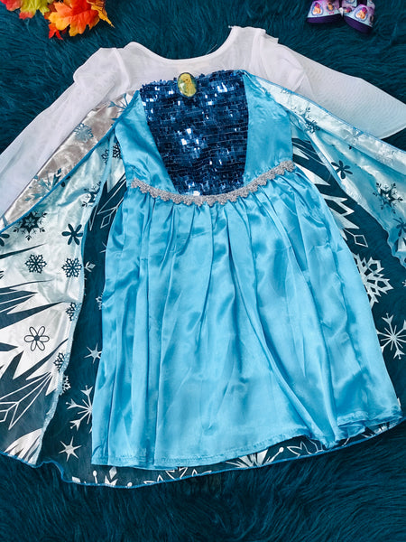Frozen Elsa Dress w/ Silver & Blue Cape H