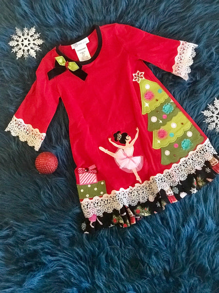 Christmas Girls Red Nutcracker Dress CH - JEN'S KIDS BOUTIQUE
