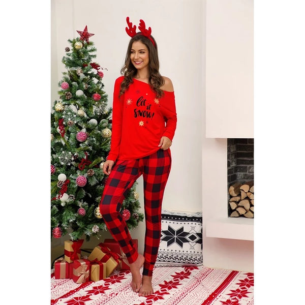 New Christmas Women's Red Plaid  Let It Snow Two Piece Pajamas C - JEN'S KIDS BOUTIQUE
