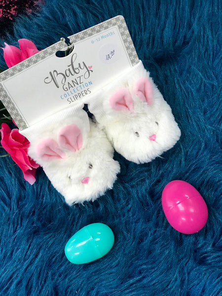 Spring Easter Bunny Fuzzy Infant Booties - JEN'S KIDS BOUTIQUE