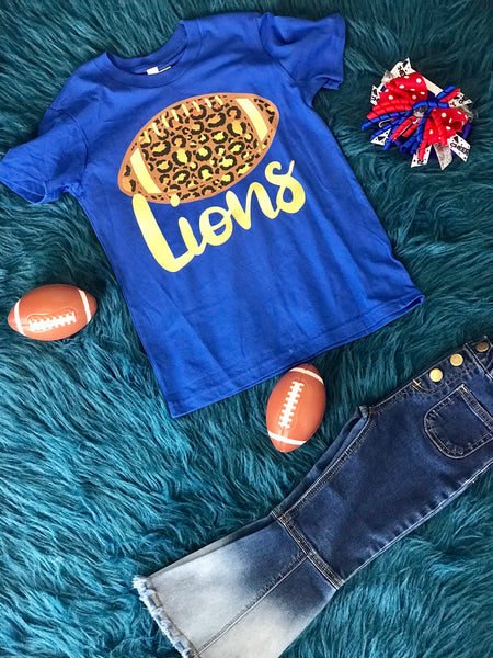 2018 Fall Lions Football Blue Cheetah Youth Shirt - JEN'S KIDS BOUTIQUE
