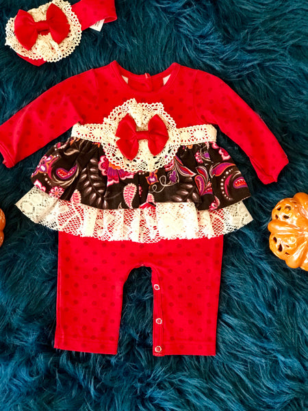 Peaches N Cream Fall Red/Flower Infant Romper CL - JEN'S KIDS BOUTIQUE