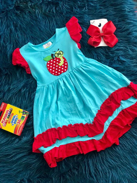 Back To School Apple Of My Eye Ruffle Dress - JEN'S KIDS BOUTIQUE