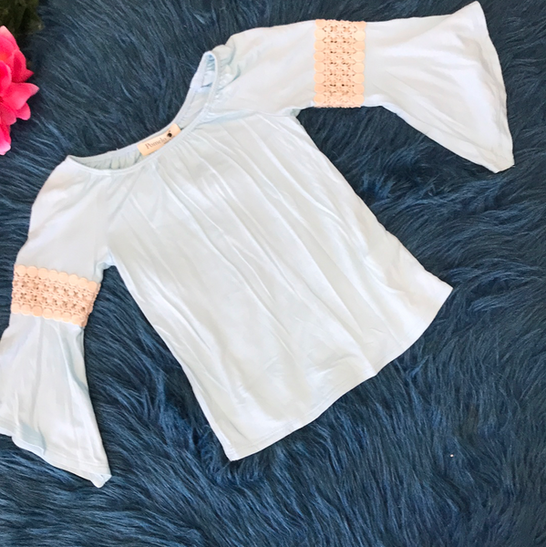 Pomelo Blue Shirt w/ Lace Sleeves - JEN'S KIDS BOUTIQUE