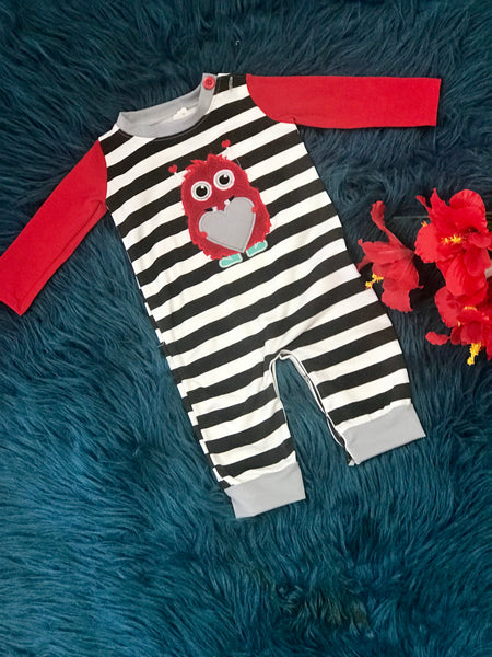 Valentines Boys Red Heart Monster Long All - JEN'S KIDS BOUTIQUE