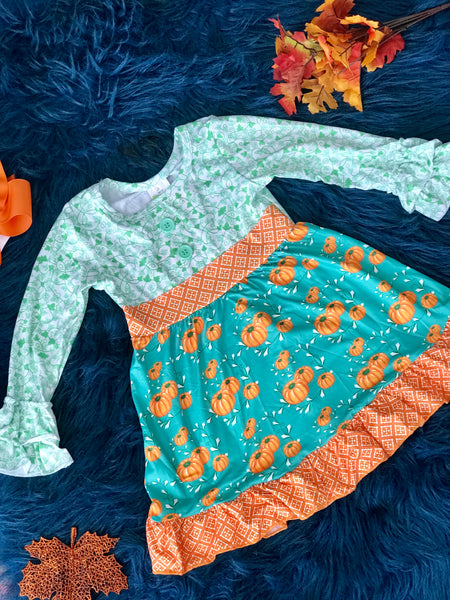 New Fall Mixed Pumpkin Ruffle Sleeve Dress - JEN'S KIDS BOUTIQUE