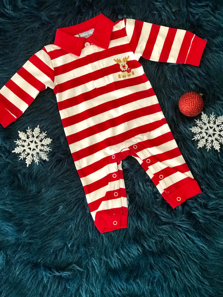 2018 Fall Three Sisters Boys Stripped ReindeerInfant Romper - JEN'S KIDS BOUTIQUE