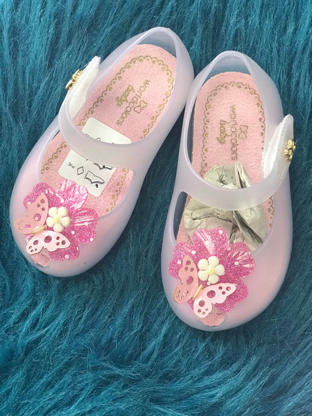 2019 Spring & Summer Sweet Infant & Toddler Pink Jelly Shoes With Butterfly and Flowers - JEN'S KIDS BOUTIQUE