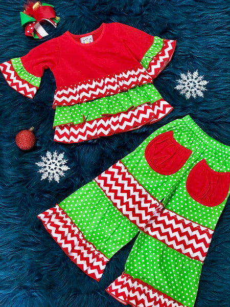 Three Sisters Christmas Chevron Red & Green Pant Set With Cute Pockets On The Back - JEN'S KIDS BOUTIQUE