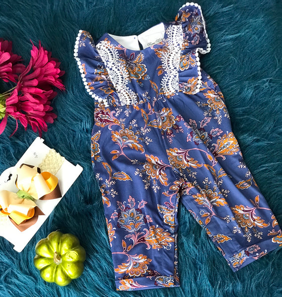 Rare Editions Blue Romper w/ Crochet Lining - JEN'S KIDS BOUTIQUE