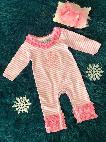 2018 Fall Three Sisters Fall Girls Ruffle Applique Cross Infant Romper - JEN'S KIDS BOUTIQUE