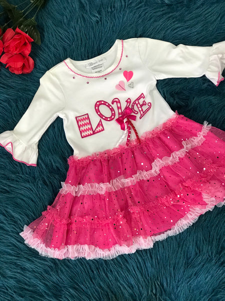 Bonnie Jean Valentines Love Pink Tutu Dress V - JEN'S KIDS BOUTIQUE