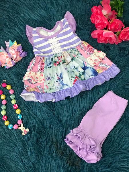 Spring Fling Easter Cotton Vintage Lavender Bunny Capri Set - JEN'S KIDS BOUTIQUE