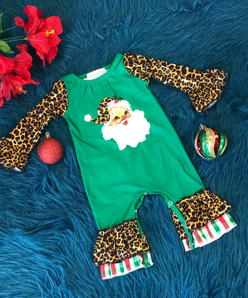 New Christmas Infant Green Santa Cheetah Ruffle Romper C - JEN'S KIDS BOUTIQUE