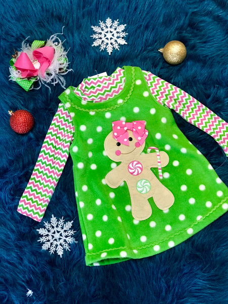 Christmas Green Gingerbread Dress Set CH - JEN'S KIDS BOUTIQUE