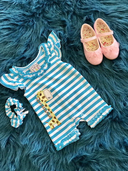 2018 Spring Three Sisters Giraffe Infant Girls Romper - JEN'S KIDS BOUTIQUE