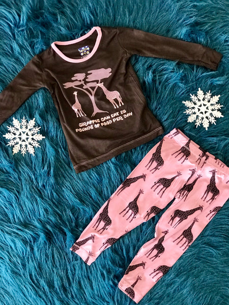 Fall Kickee Pants Zebra Giraffe Long Sleeve Pajama Set - JEN'S KIDS BOUTIQUE