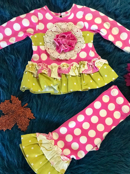 Peaches N Cream Fall Hot Pink & Moss Ruffle Pant Set. C - JEN'S KIDS BOUTIQUE