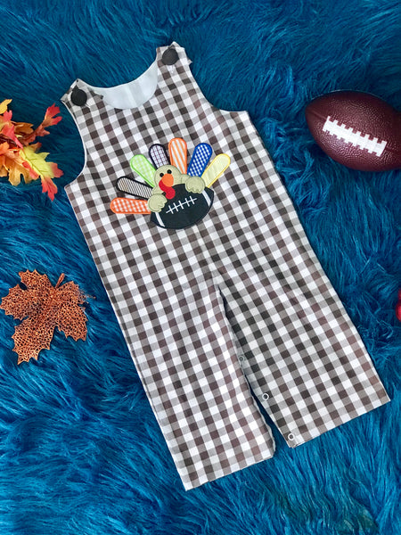 Three Sisters Boys Thanksgiving Football Overalls TH - JEN'S KIDS BOUTIQUE