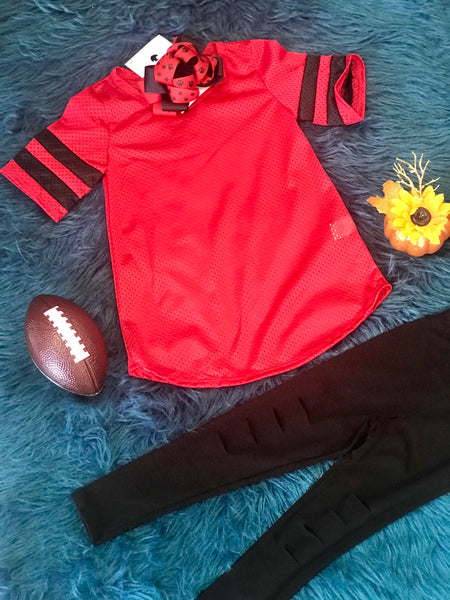 New Fall Red & Black Football Jersey Shirt Unisex - JEN'S KIDS BOUTIQUE