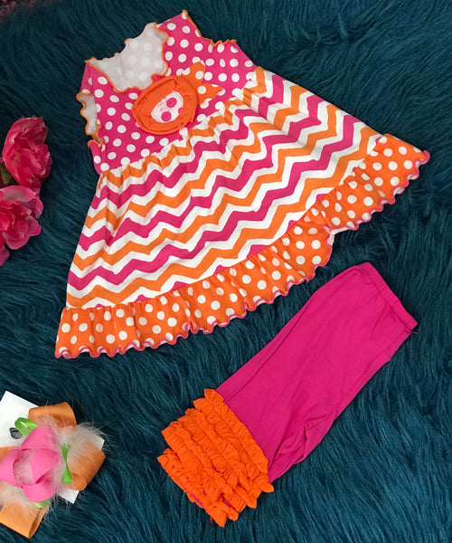 Baxter & Beatrice Miss-T-V-US Hot Pink & Orange Chevron Polka Dot Set - JEN'S KIDS BOUTIQUE